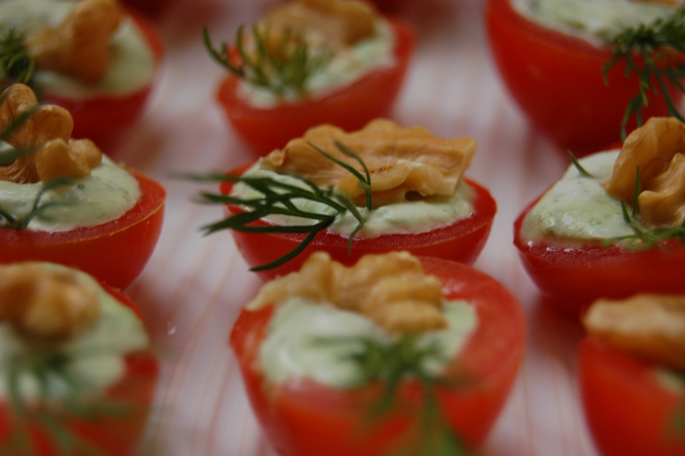 Stilton and walnut filled cherry tomatoes