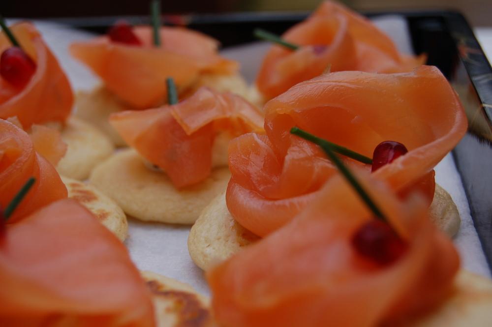 Citrus cured salmon preserved lemon creme fraiche and pomegranate