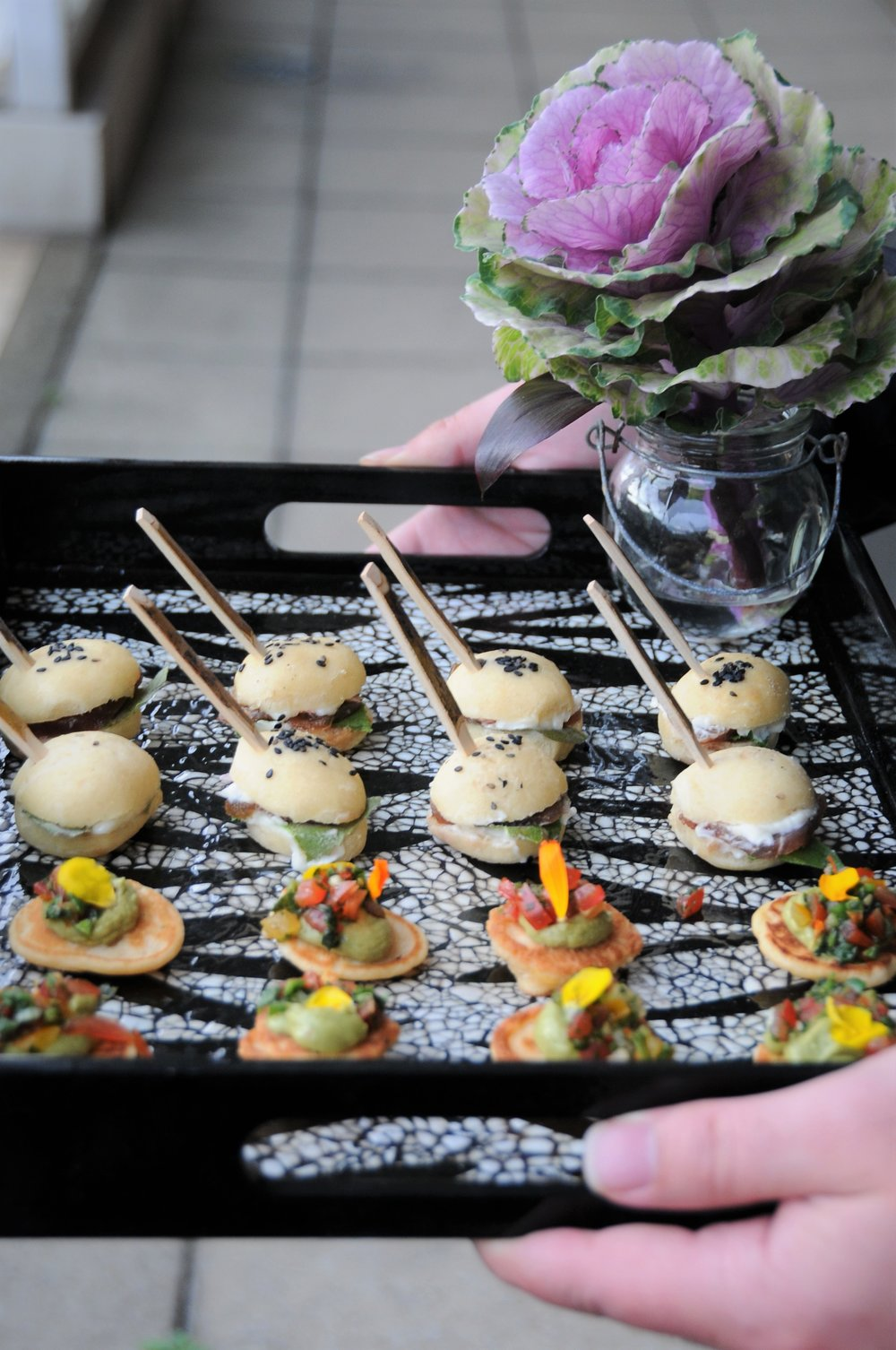 Canape selection with flowers