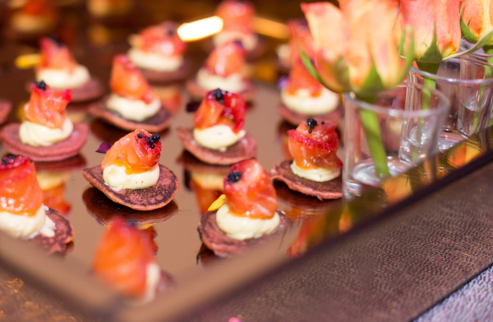 Loch Fyne salmon citrus and beetroot cured, mango pickle creme fraiche, beetroot buckwheat blinis