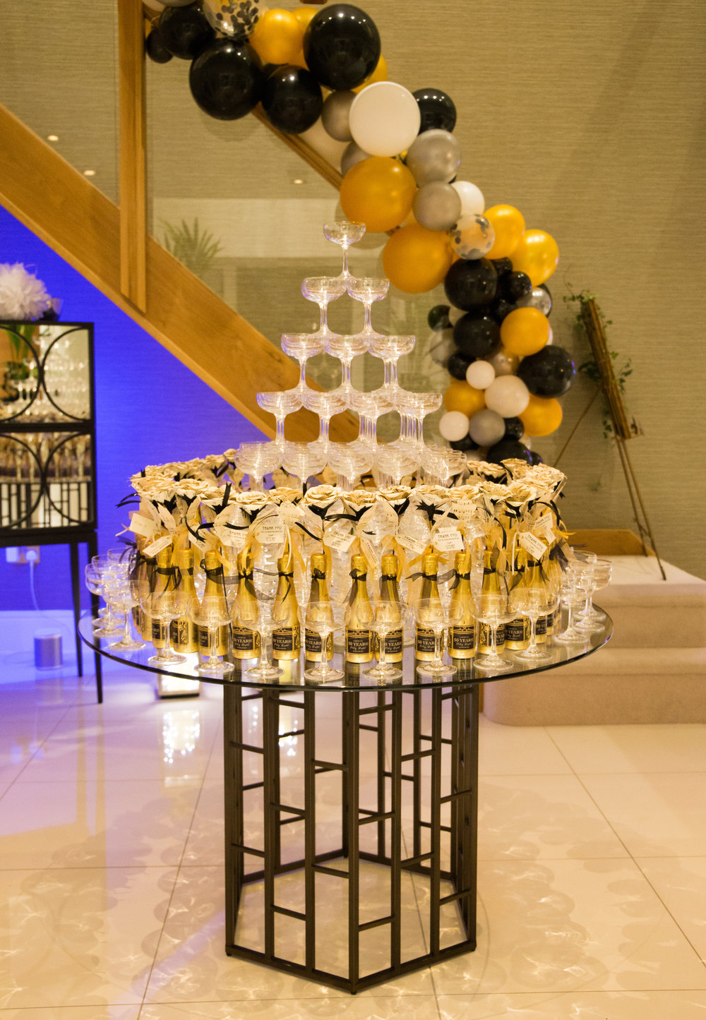 Champagne tower Prohibition themed party Ascot, Berkshire