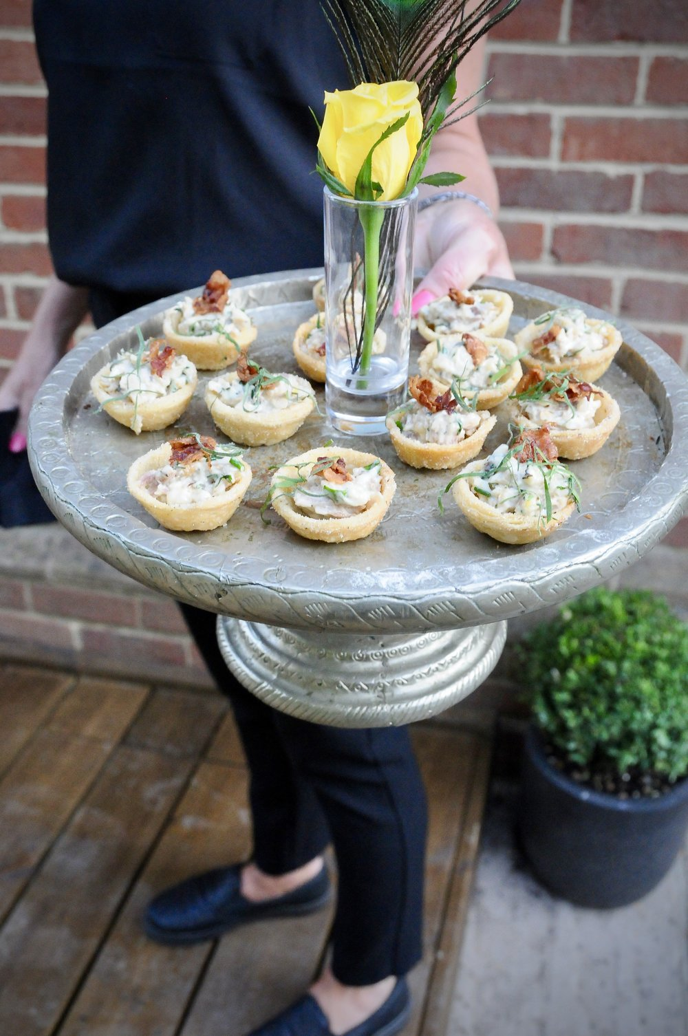 Organic chicken and pancetta in pecorino tartlets