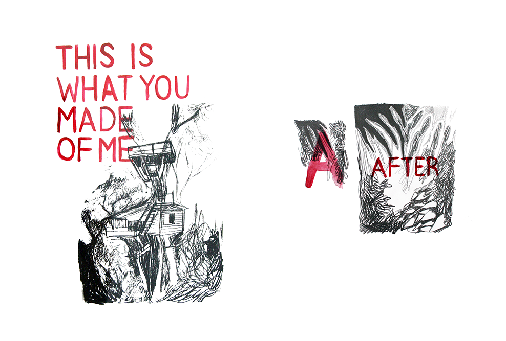 Left: Hand-pulled screen print with watercolour lettering.  Right: Pencil & watercolour on paper (sketchbook).