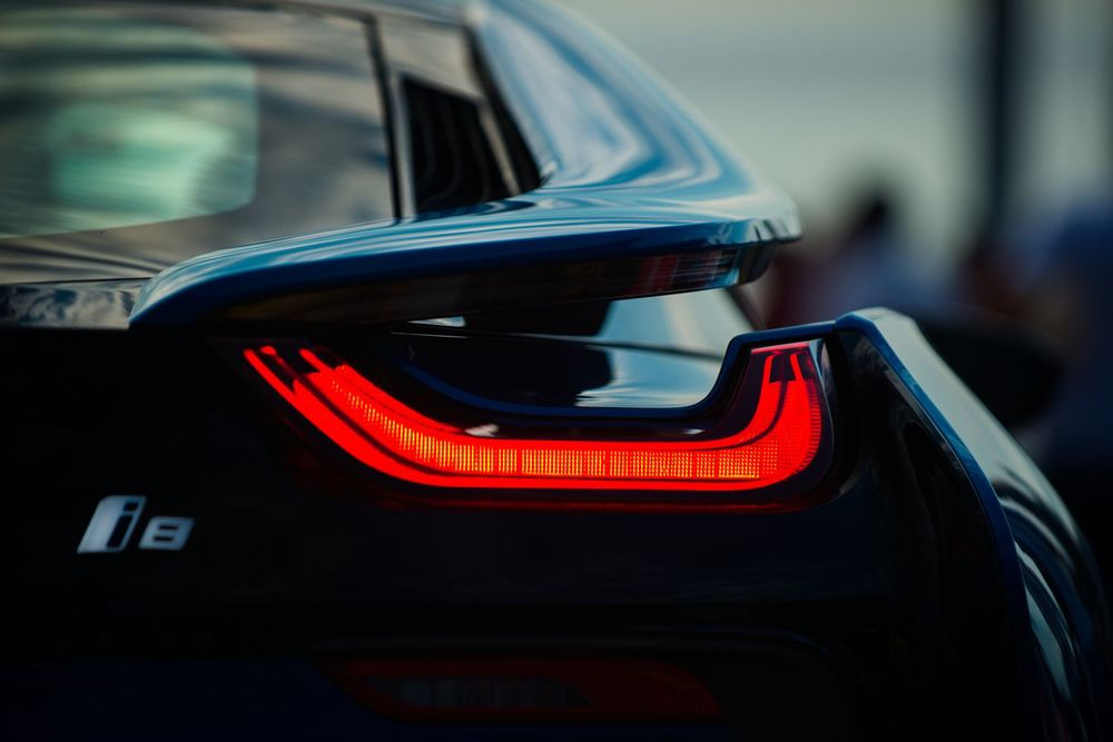 Detail of the new hybrid by BMW, the BMW i8. Shot during the Montreux Grand Prix 2014 in Switzerland