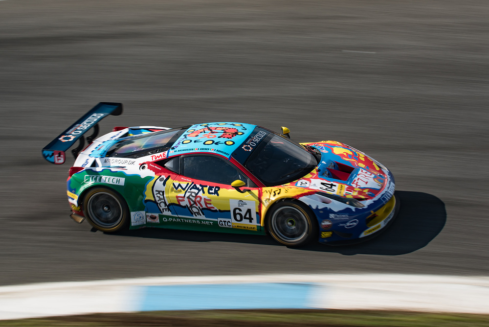 "The beautiful livery of the AF Corse Ferrari 458 Italia GT3 that was made by children at Fundação ""O Século"" during European Le Mans Series 2015 at Estoril Circuit, Portugal"
