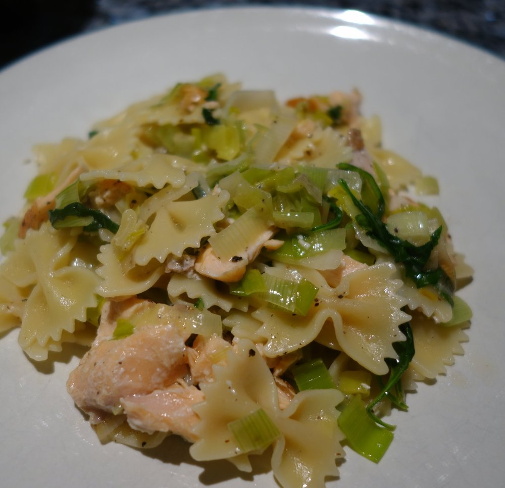 2 Large Leeks White And Light Green Parts Halved Lengthwise Thinly Sliced Crosswise Handfuls Arugula Leaves 12oz Farfalle