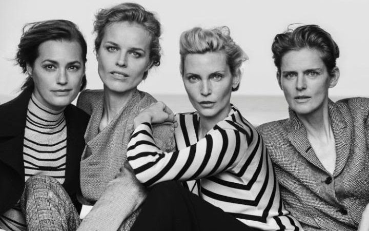 Yasmin Le Bon, Eva Herzigova, Nadja Auermann and Stella Tennant in Giorgio Armani's New Normal collection SS16 campaign CREDIT: PETER LINDBERGH
