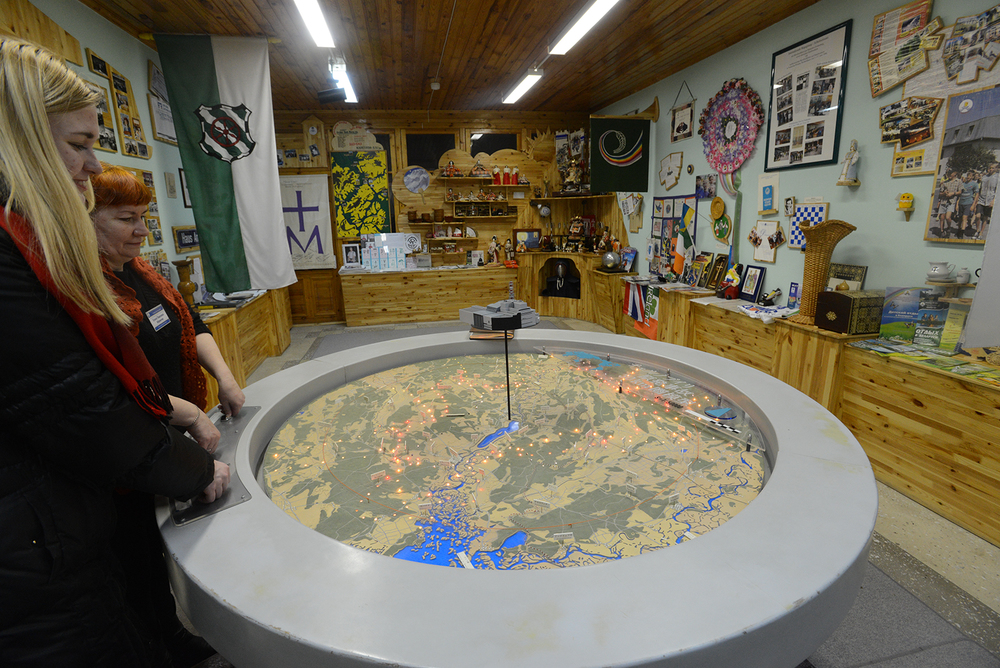 ナデジダのミュージアムには、日本から寄付された汚染地域が一目でわかる機械あった。