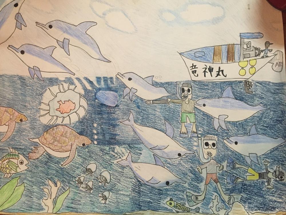 2015福島キッズドルフィンキャンプに参加した小学3年生の男の子が描いてくれました。