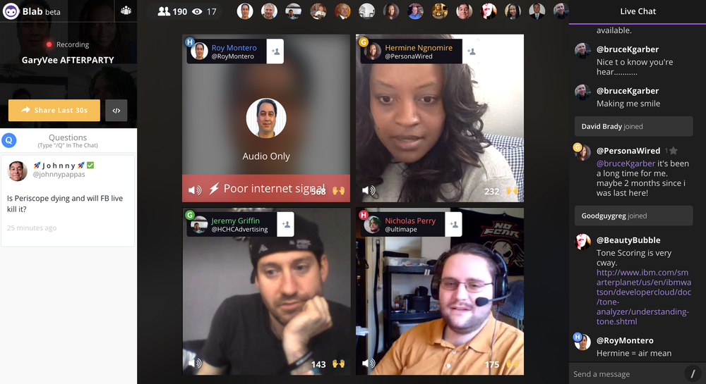 Screenshot of a blab I was watching today... Notice the chat bar on the right hand side.