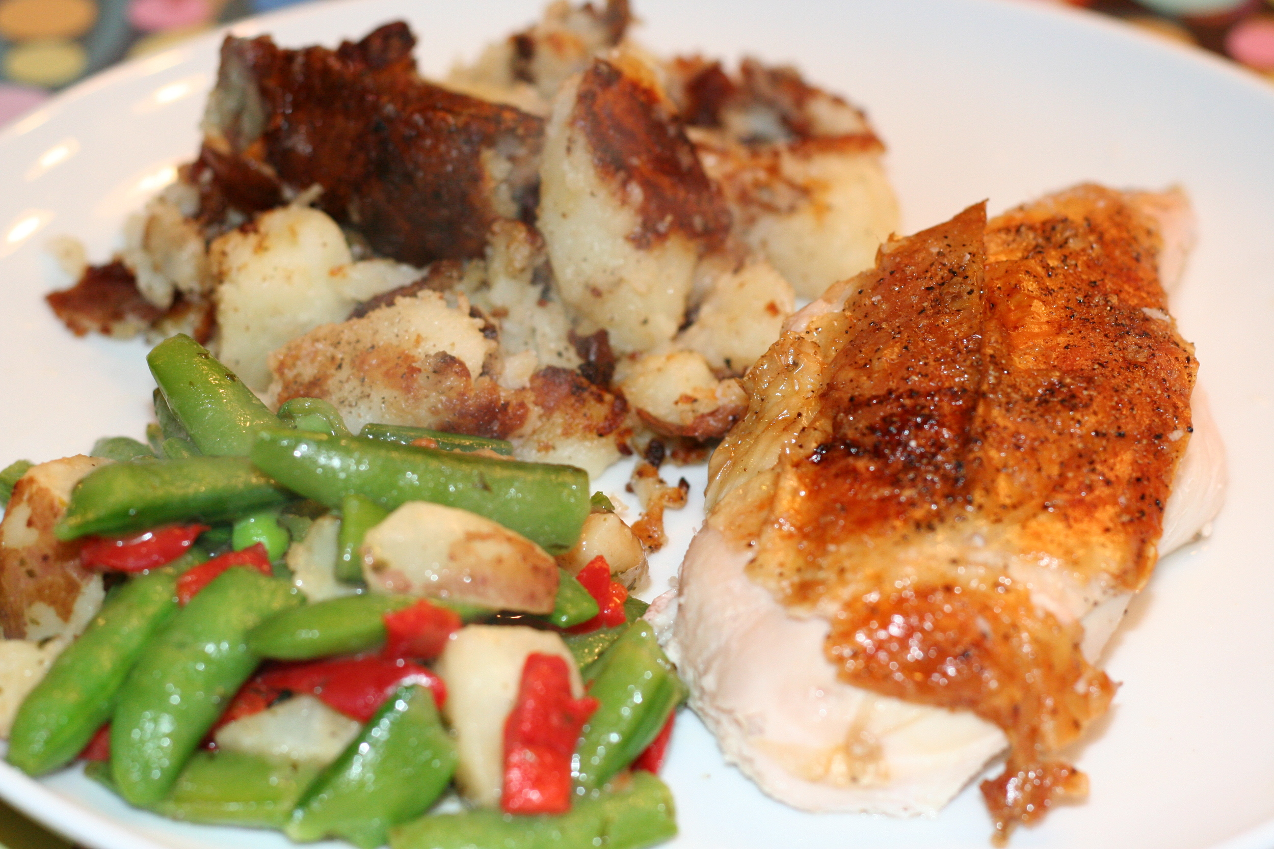Roasted Chicken with Smashed Potatoes and veges