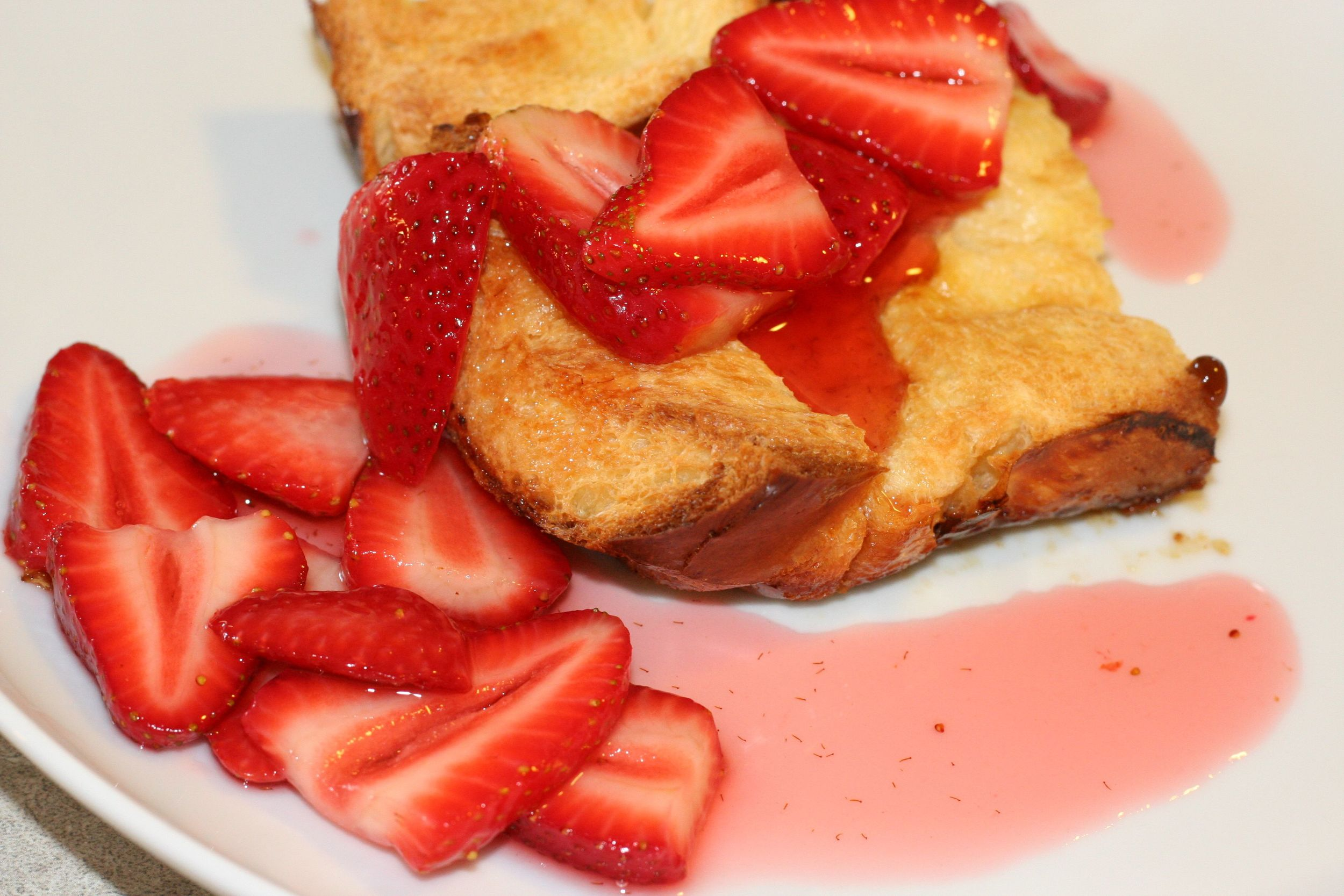 Creme Brule French Toast with Drunken Strawberries