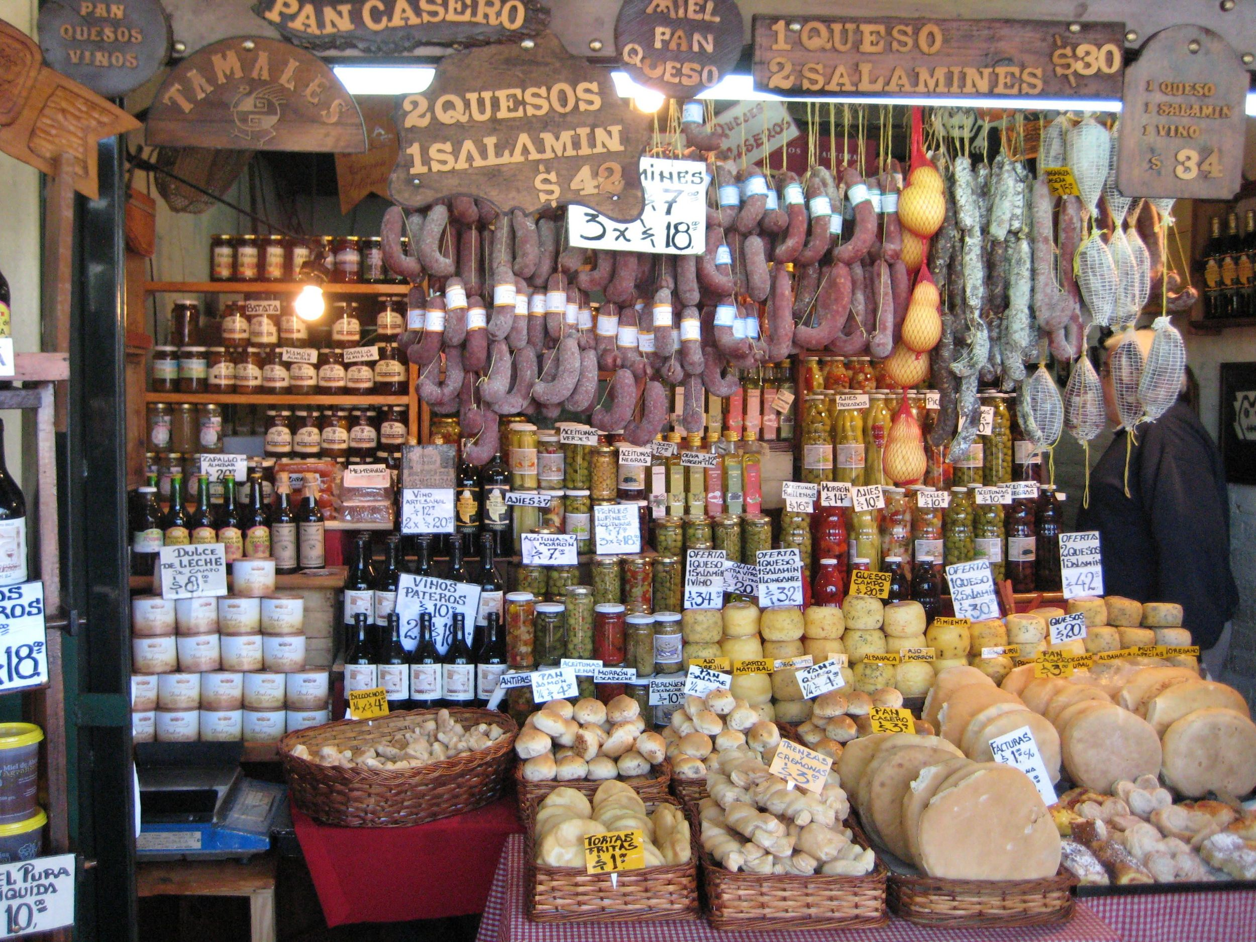 Cheese, olives, bread and salami shop