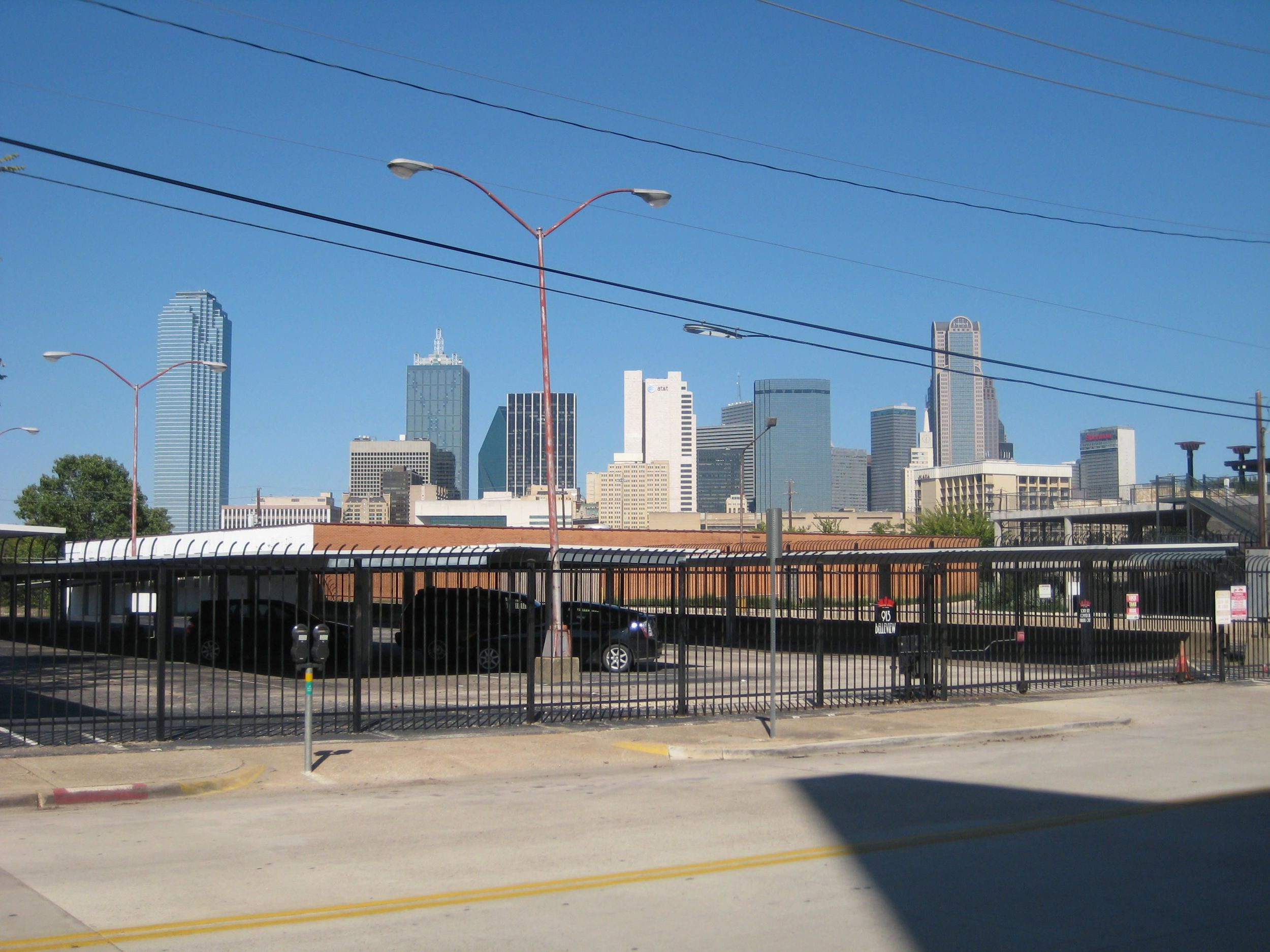 View of downtown Dallas on the way back to the Cedars DART stop