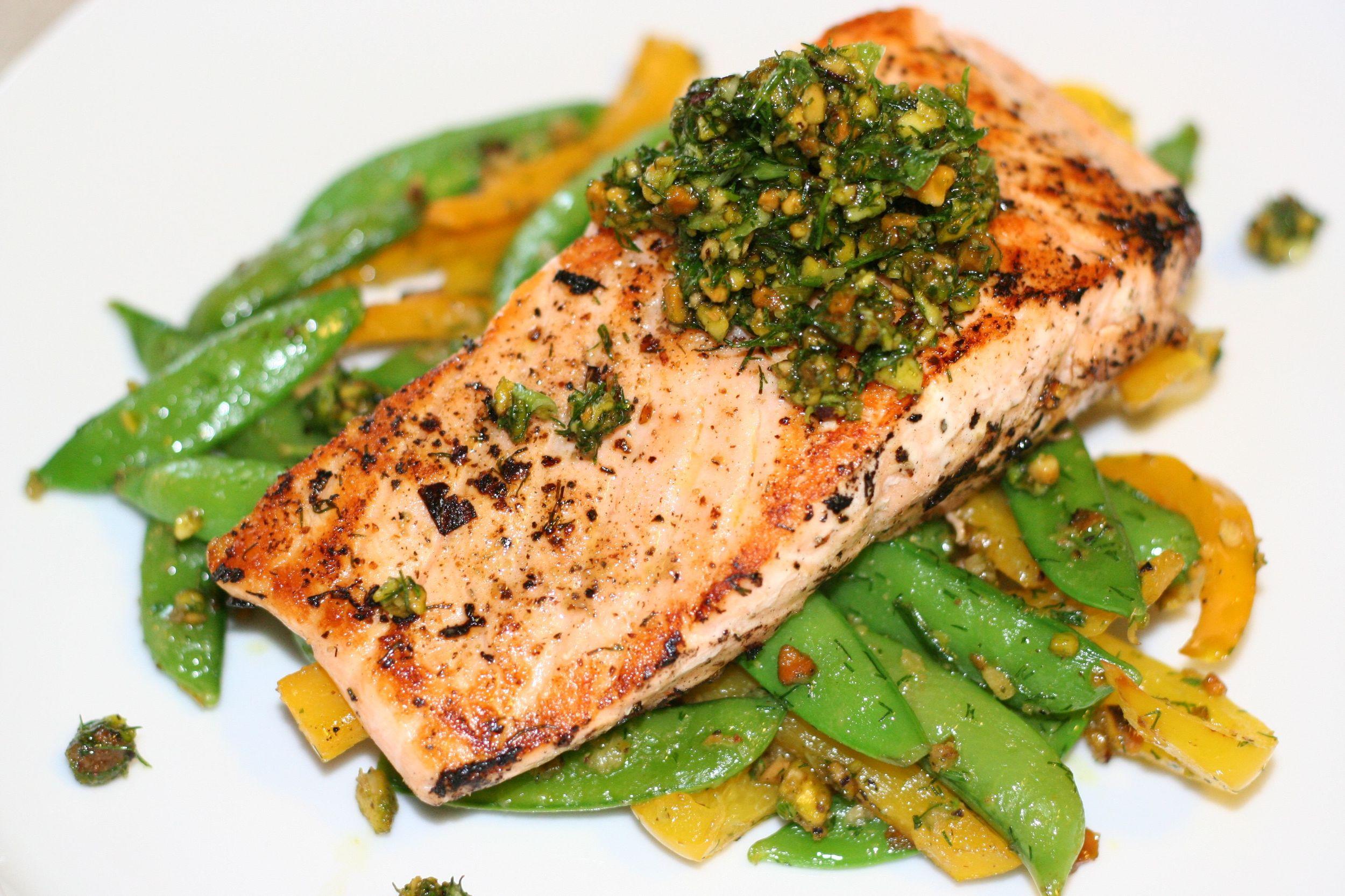 Salmon with Pistachio Pistou