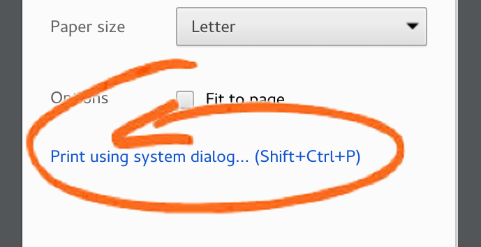 How to get to the system print dialog when printing from Google Chrome