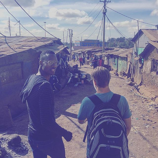 Doing a walk through in Kibera with Esteban and @shofco