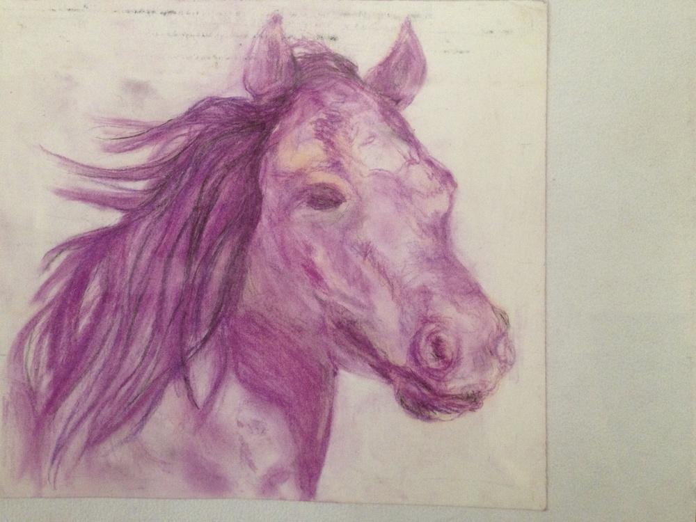 Purple Glow, Pastel on paper.