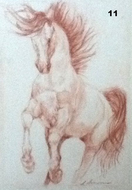 Prancer, Pastel on paper.