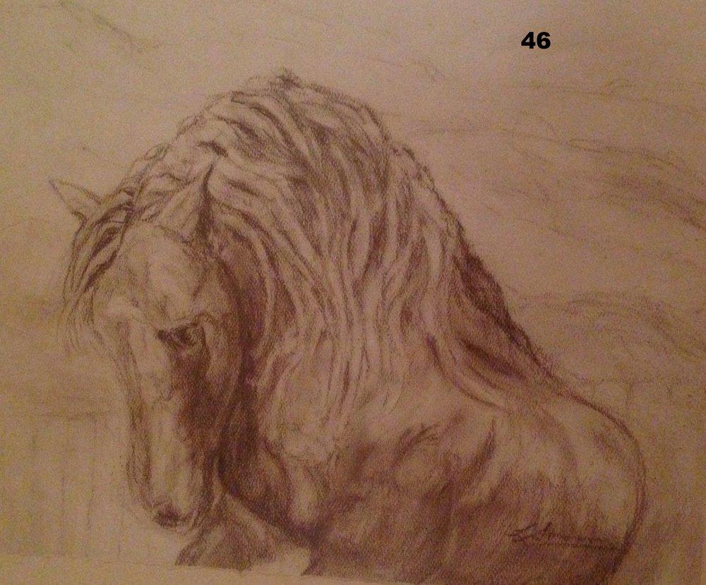Mountain Rider, Pastel on paper.