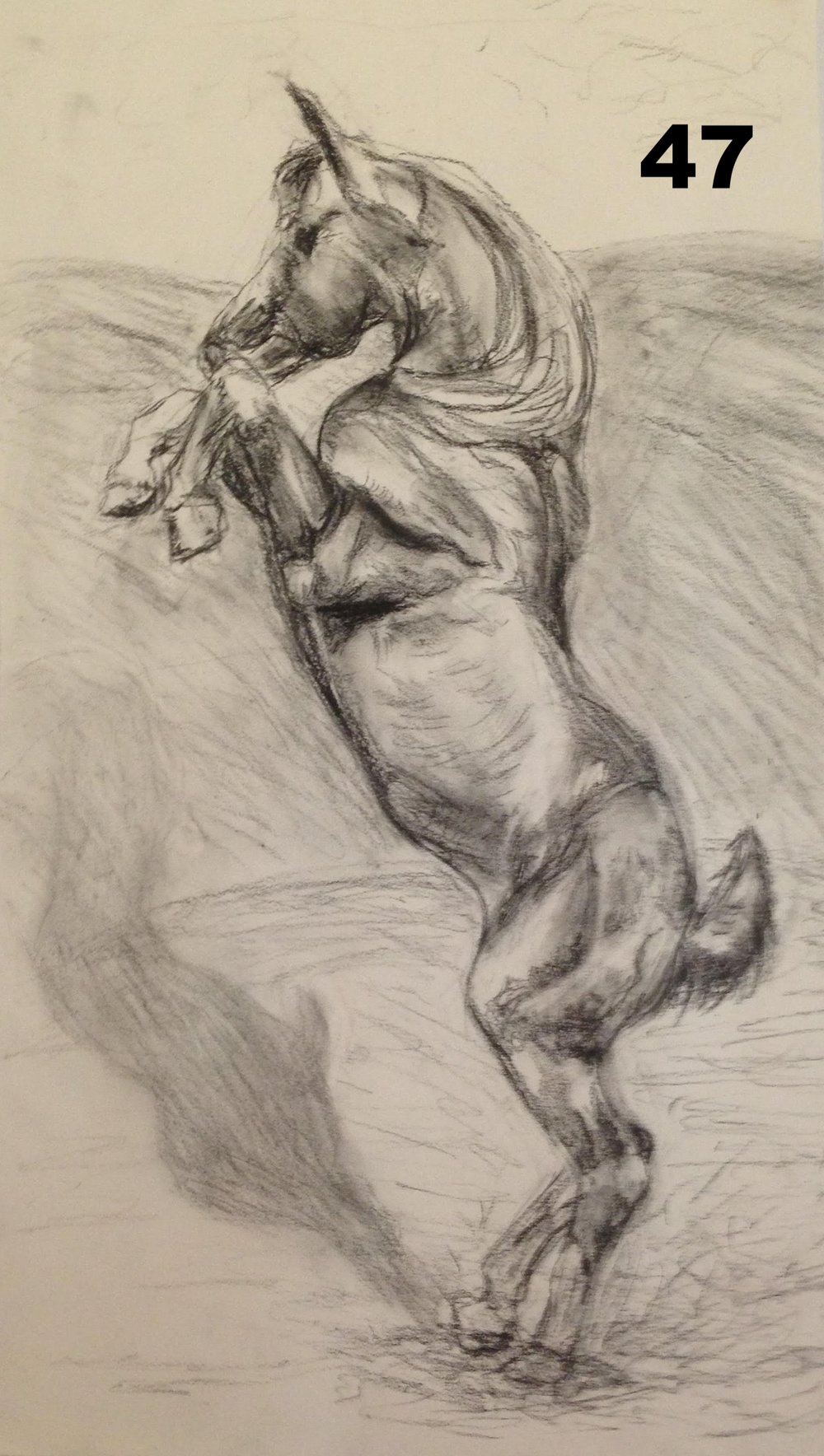Dancing, Charcoal on paper.