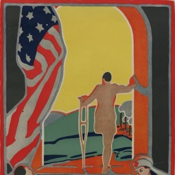 """Detail from 1919 Red Cross poster, """"Facing the Future: Uncle Sam offers training to every man disabled in the service."""" Credit: Library of Congress."""