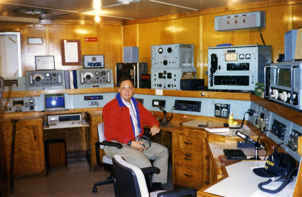 Ham Radio - NH2F, not hard to find.  In the Radio Room of the Queen Mary, Long Beach, CA