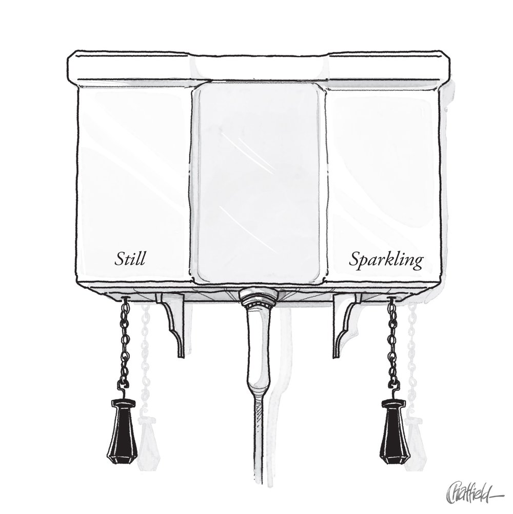 jason chatfield still sparkling tap toilet cistern new yorker cartoon