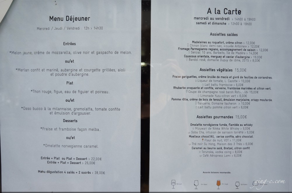 "The ""à la carte"" menu."