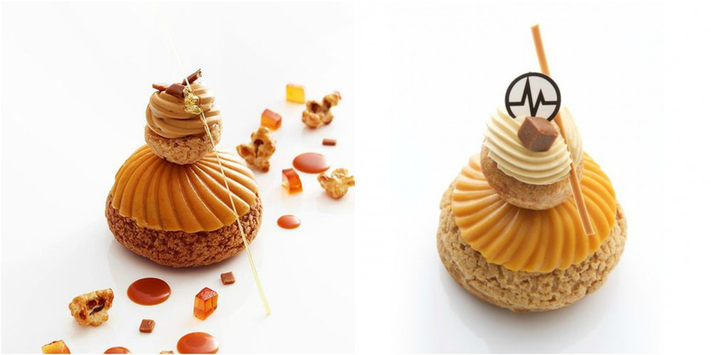 圖4. 左手邊為 Christophe Michalak 在 Plaza Athéthée 時的招牌甜點「鹹奶油焦糖修女泡芙」,右手邊是現在他自己的店內的版本,稱為「Miss K」。(圖片來源: Tendance Food (左)、Christophe Michalak 官方網站 (右))