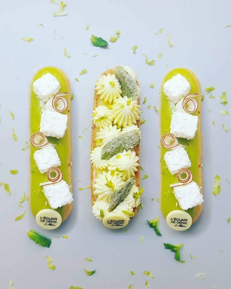 圖7. L'Éclair de Génie 今年六月剛剛推出的新品,左右兩邊是檸檬、椰子口味的新閃電泡芙,中間那個則是做成閃電泡芙長條形的檸檬薄荷塔,顯然Adam 已經將「snacking chic」的概念延伸至閃電泡芙以外的甜點類型。(圖片來源: Christophe Adam 的 Facebook頁面 )