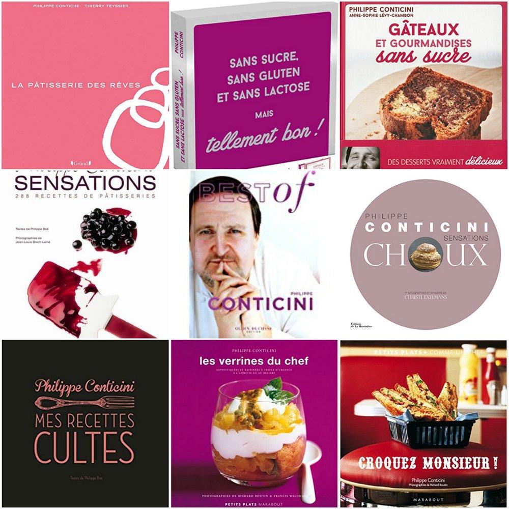 Conticini 出版的幾本食譜書,其中右上角便是《Gâteaux et gourmandises sans sucre》(無糖蛋糕與美味小點)一書。他 2016 年 11 月再接再厲出版另一本無糖、無麩質與無乳糖的食譜書(第一列中間)。(圖片來源: Amazon.fr )
