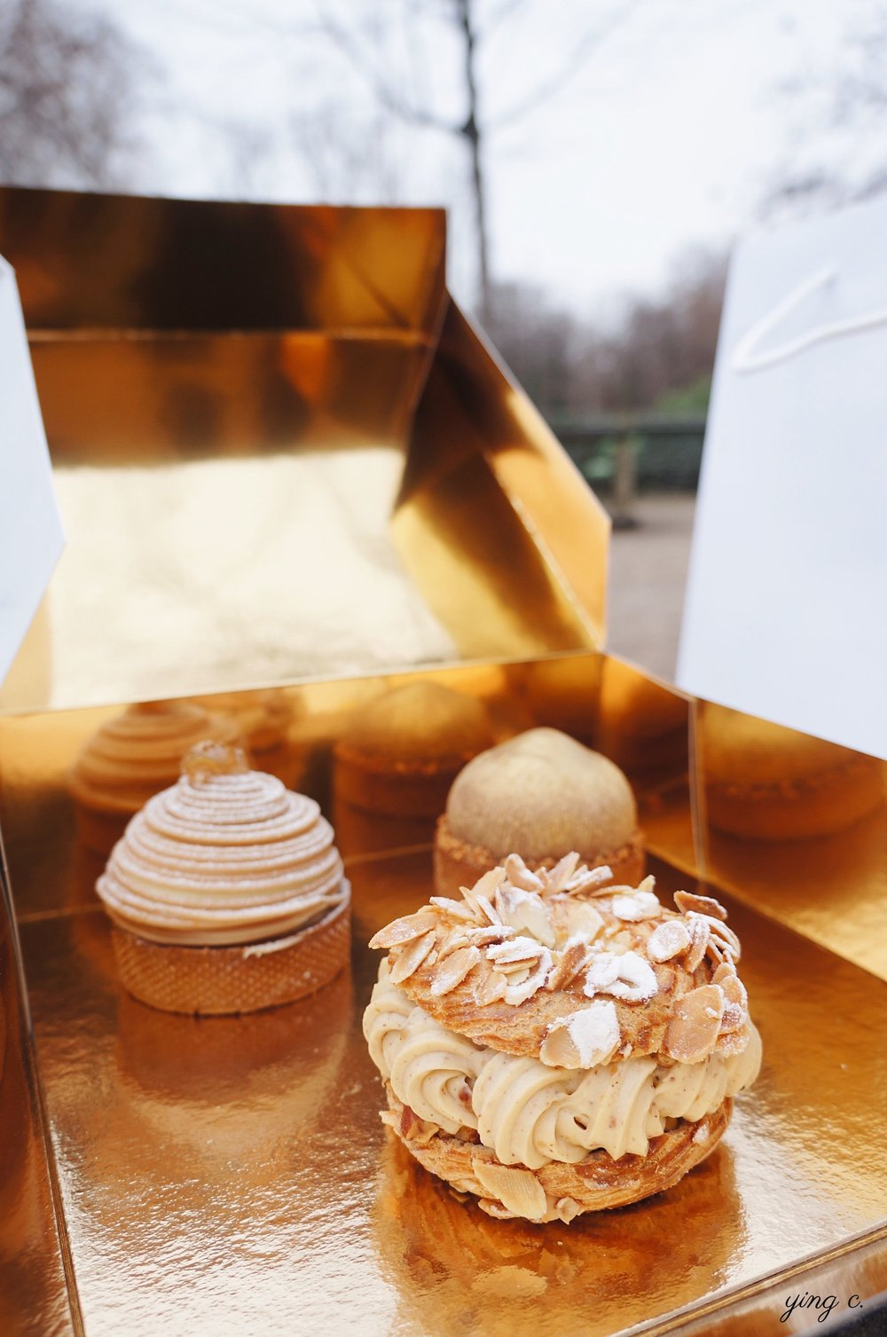 (from right to left and back to front): Tarte Mont-Blanc, Tarte Noisette, and Paris-Brest.