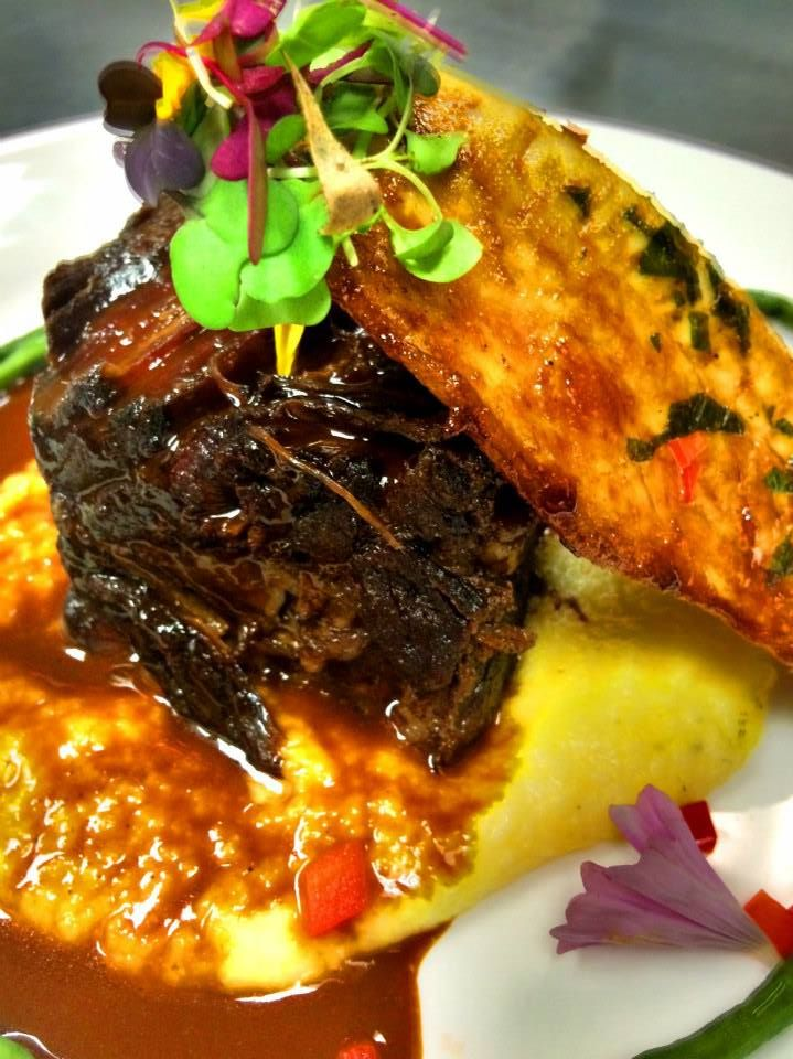 Braised Beef Short Ribs and Three Citrus Glazed Pompano