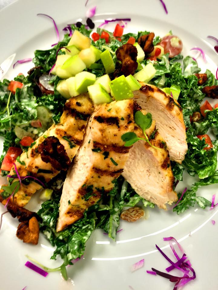 Waldorf Kale Salad with Grilled Chicken