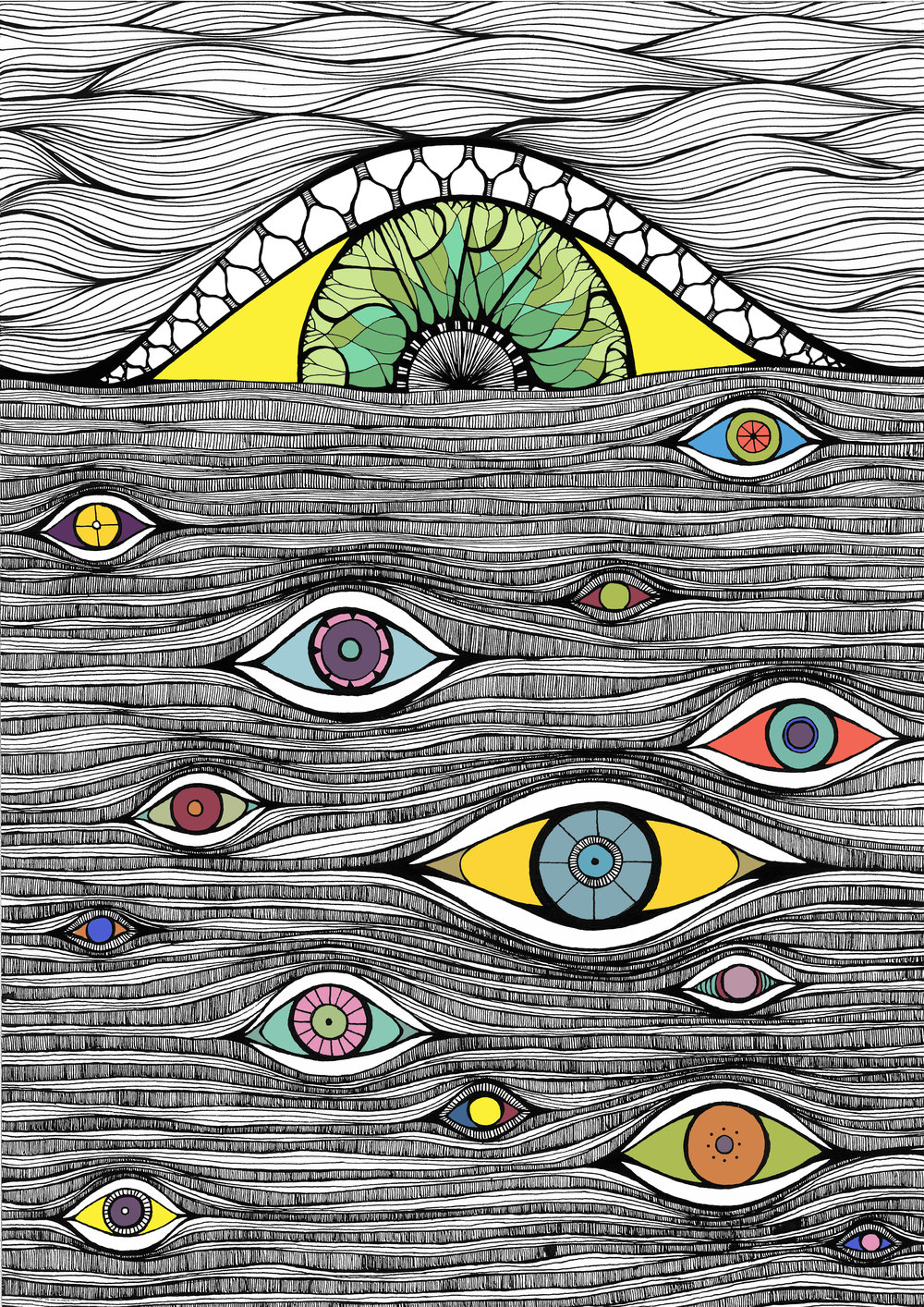 Psypress Uk - A cover for the 4th edition of Psychedelic Press UK that blends in the concepts of Altered States with a deep sea of wisdom which is all seeing and all knowing. The intricacy of the illustration reflects the meditative aspect of the literature and its topics, with each colourful eye becoming the openings through which
