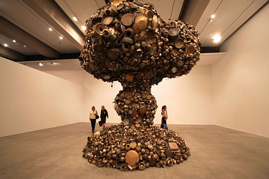 In honor of our Episode 3 Launch tomorrow, we are featuring this awesome apocalyptic mushroom cloud sculpture made of pots and pans by Indian artist, Subodh Gupta.