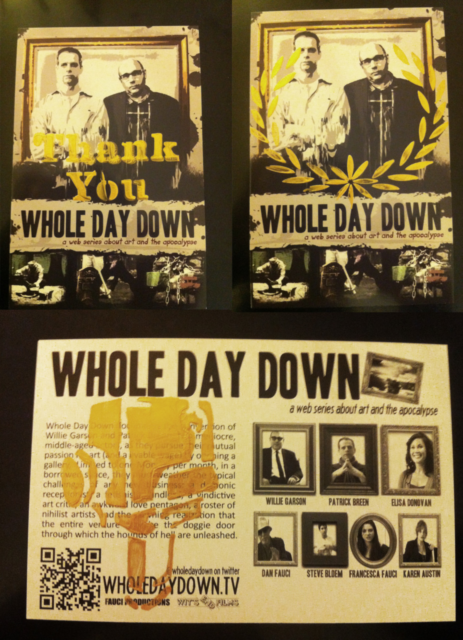 We did some stencil art on Whole Day Down Postcards. Making each one of a kind. If you want a postcard, email your address to info(at)wholedaydown.tv and we will send you one.