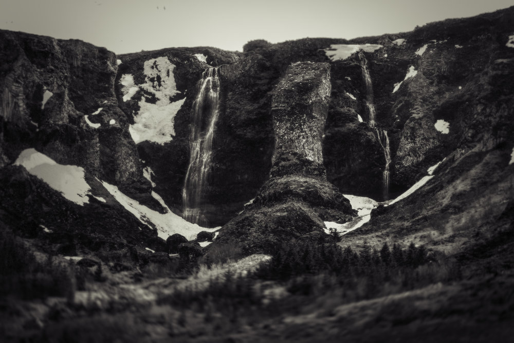 Waterfall on the cliffs of Grundarfjordur Iceland