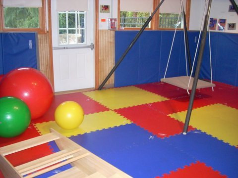Our Tumbling Room for indoor gross motor fun!