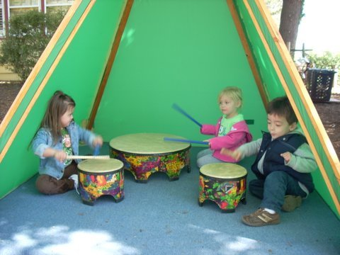 Drum play in the music garden.