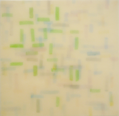 "A Frank O'Hara Summer, 2012 | Watercolor on papers infused in resin | 24""  x  24"""