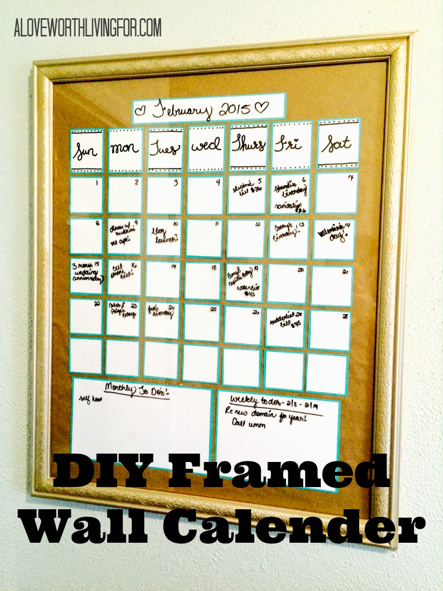 DIY Framed Wall Art Calender - All you need to turn old outdated thrift store paintings into beautiful dry-erase wall calenders!!