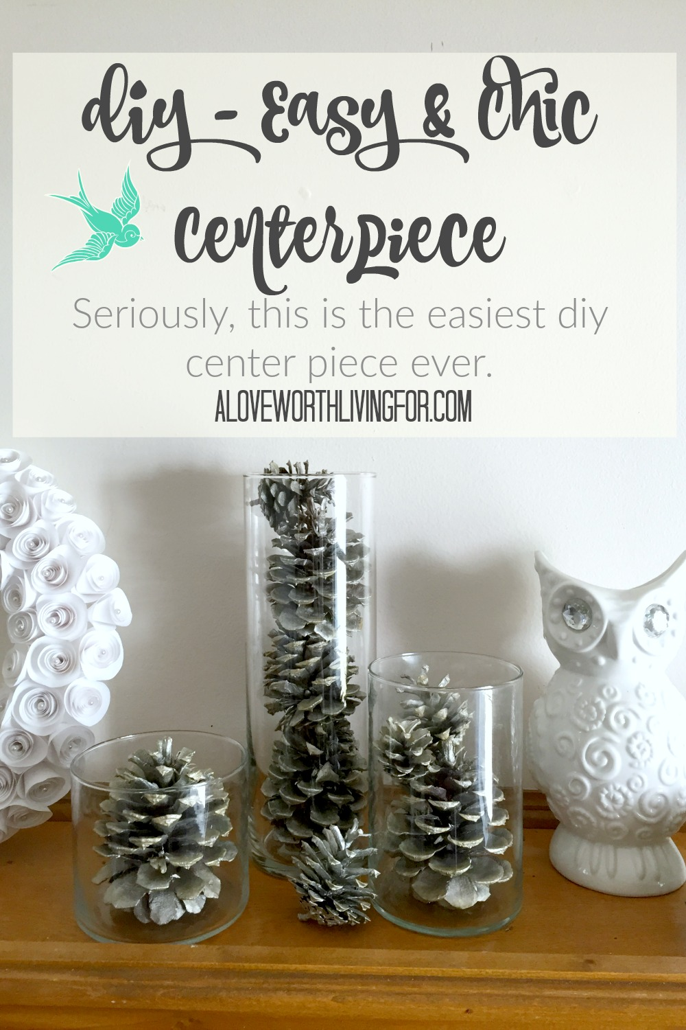 The holidays are almost here & if you are like me, you are super busy this time of year! I usually put off decorating until the last minute. Well here a a SUPER easy center piece diy! Seriously it is so easy and it takes no time at all yet it is still super chic. Impress all you friends with this simple project! by A Love Worth Living For