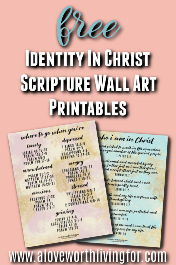 Free Scripture Wall Art Printables - These printables are so much more than pretty. They are also a fun and perfect way to keep scripture in front of you. These gorgeous bible verse wall art prints are designed to remind you who you are in Christ and where to turn for hope and encouragement when life get's tough. Click through to get yours now!