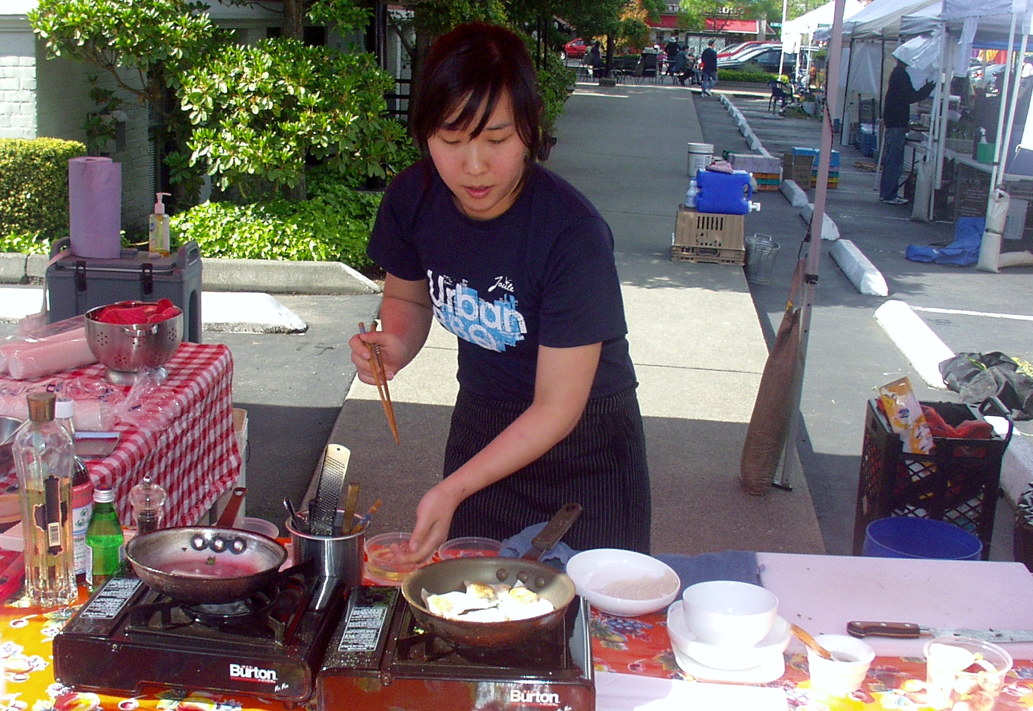 Chef Rachel Yang from Joule Restaurant performed the first cooking demonstration of the 2009 season. Photo copyright 2009 by Zachary D. Lyons.