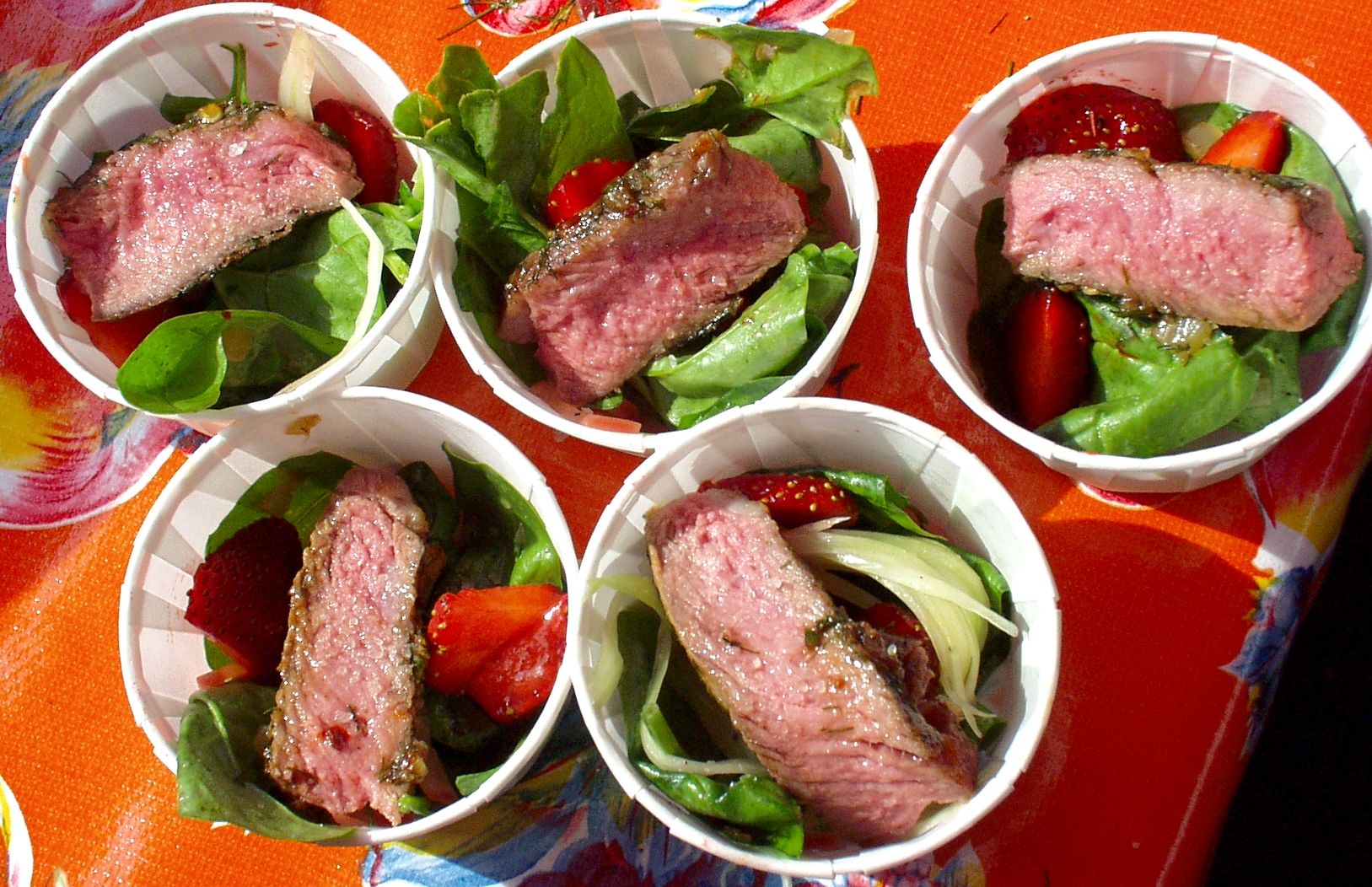 Ribeye Steak with Strawberry & Spinach Salad. Photo copyright 2009 by Zachary D. Lyons.