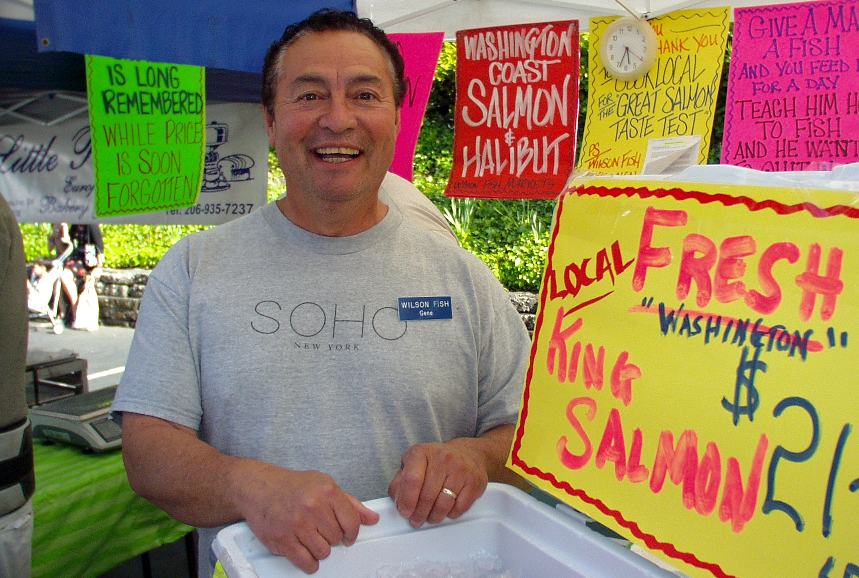 Gene Panida from Wilson Fish is happy to be back in Wallingford. Photo copyright 2009 by Zachary D. Lyons.