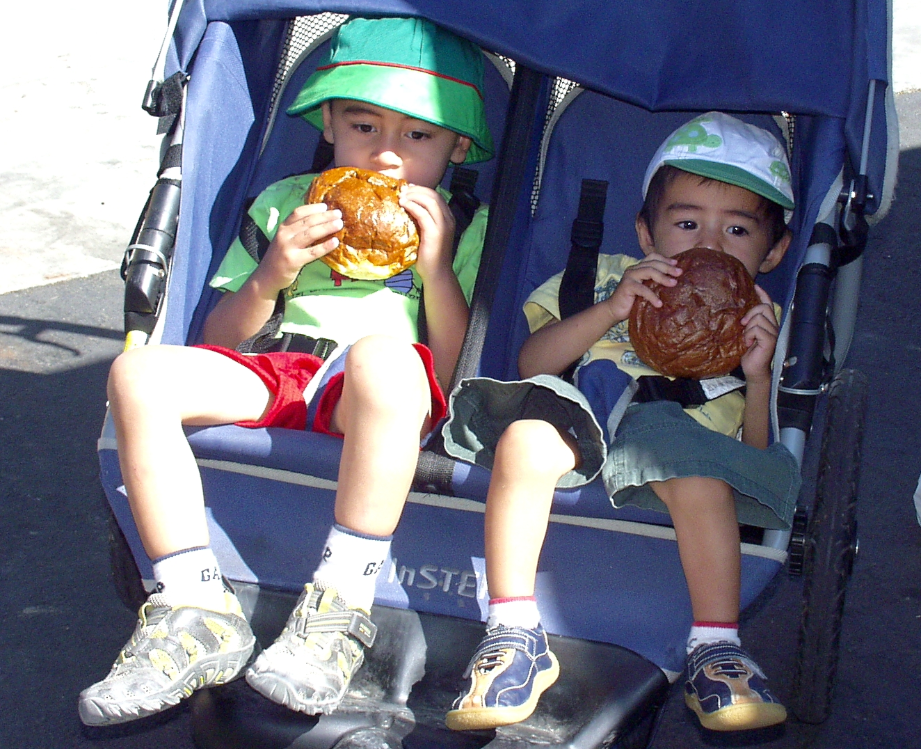 Ariya (left) and Suriya Sethi enjoy a snack and a primo ride at Wallingford Farmers Market on July 1st. Photo copyright 2009 by Zachary D. Lyons.