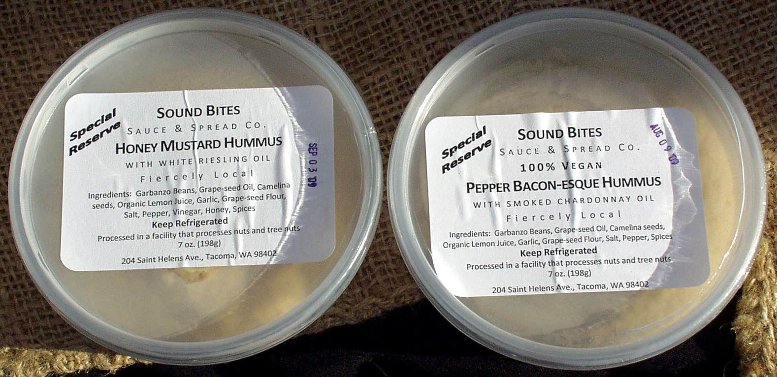 Two new flavors of hummus from Sound Bites. Photo copyright 2009 by Zachary D. Lyons.